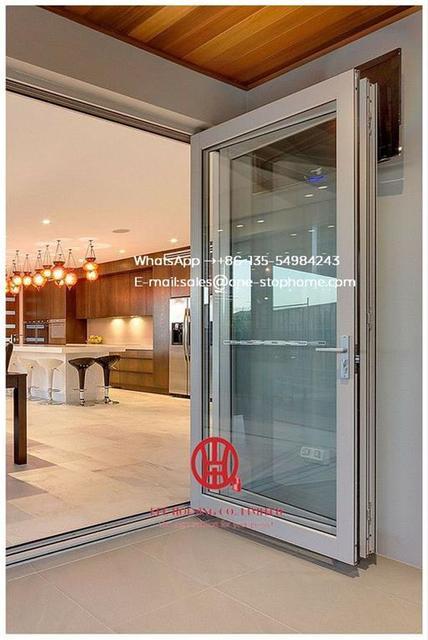 Home Economic Aluminium Balcony Folding Glass Door Aluminium Double