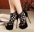 Verano de las mujeres negro bombas partido de las mujeres bombea los zapatos de boda zapatos de tacones de aguja del dedo del pie abierto zapatos de tacón alto vestido D147