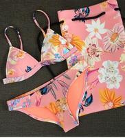 2018 104 22 Color Summer Newest Color Handmade Crochet Bikini Bandeau Bow Halter Swimwear Women Floral