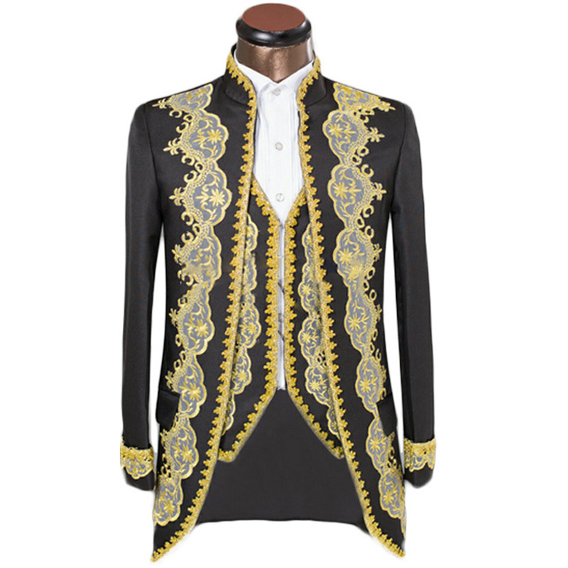 custom suits luxury embroidery royal golden edge mens