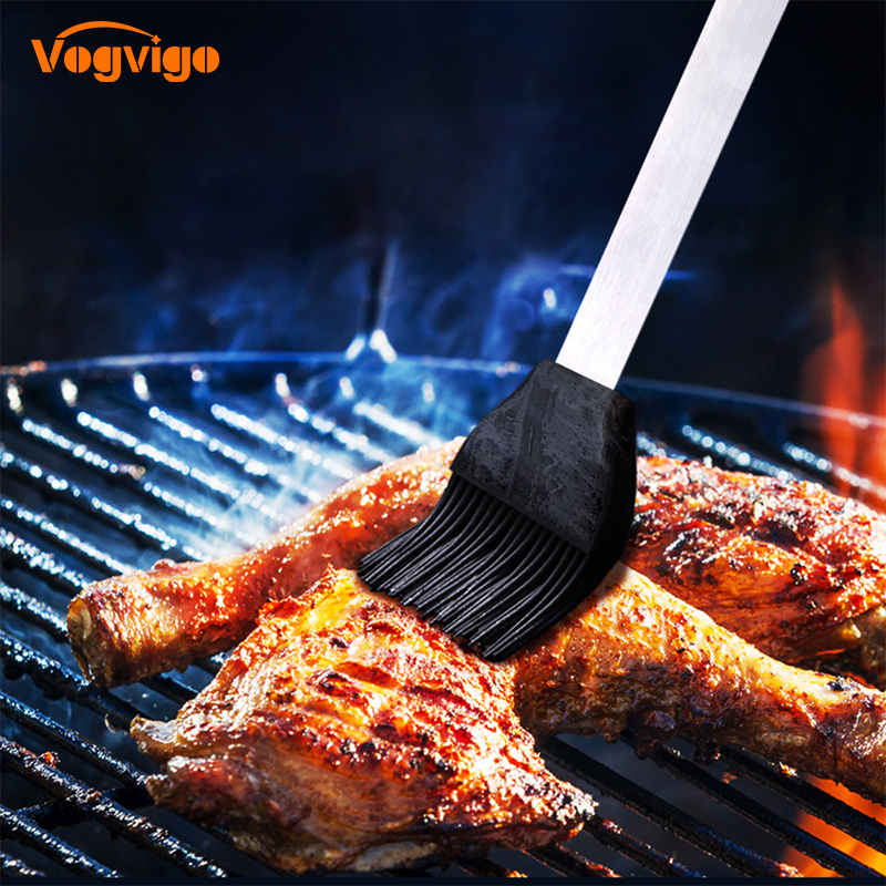 VOGVIGO 304 stainless steel + silicone high temperature barbecue brush silicone sweeping brush DIY cake baking barbecue tools