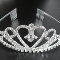 2016 Bridal Princess Stunning Crystal Tiaras Wedding Crown Heart Plated Women Tiara Hair Comb Headband THSC0050-1