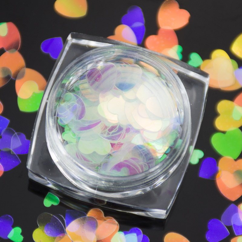 New 1 Box Holographic Nail Glitter Flakes Nailart Sparkle Nail Sequins Heart Star Paillettes DIY Manicure Nail Art Decoration