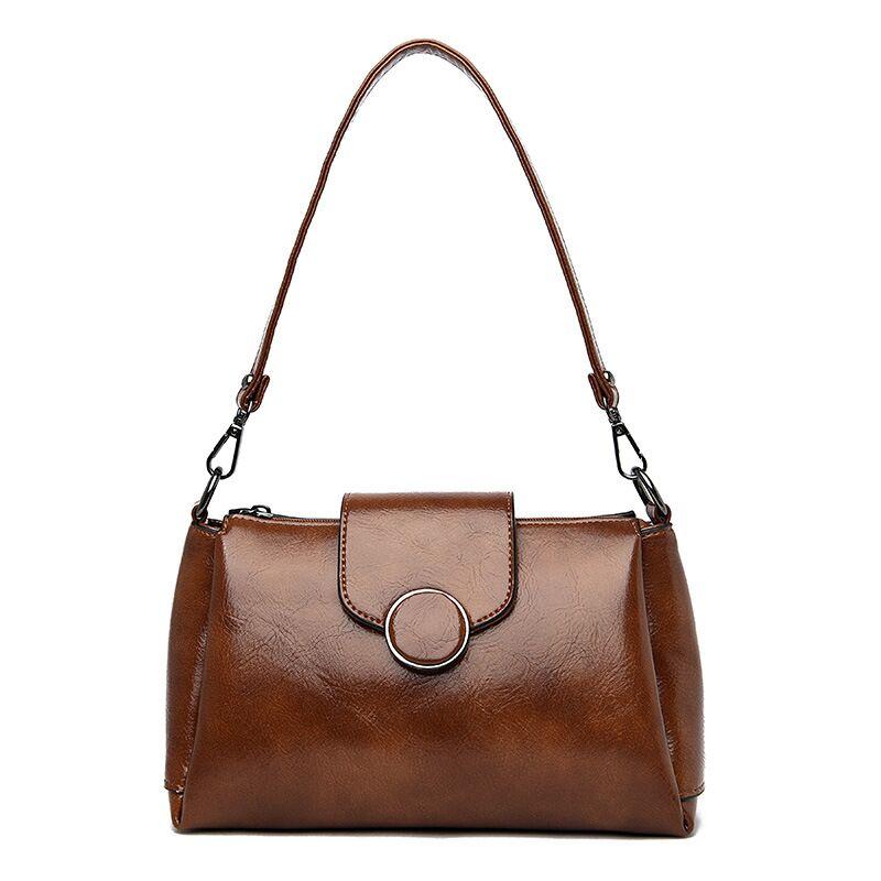 Brand Retro Wax Leather Crossbody Bags For Women Luxury Tote Messenger Bags Ladies Handbags Bright Leather Shoulder Bag in Shoulder Bags from Luggage Bags
