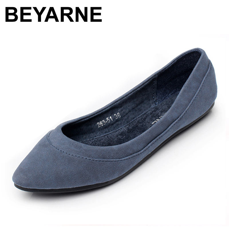 BEYARNE Ladies Shoes Ballet Flats Women Flat Shoes Woman Ballerinas Large Size Casual Shoe Sapato Womens Loafers Zapatos Mujer flat shoes women pu leather women s loafers 2016 spring summer new ladies shoes flats womens mocassin plus size jan6