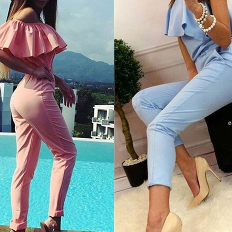 2017 Fashion Women Jumpsuit Elegant Bodycon Sexy Ruffle Off Shoulder Long Pants Playsuit  FS99