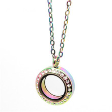 Crystal Rainbow 316L stainless steel screw round floating locket necklace memory glass pendant with 50cm chain