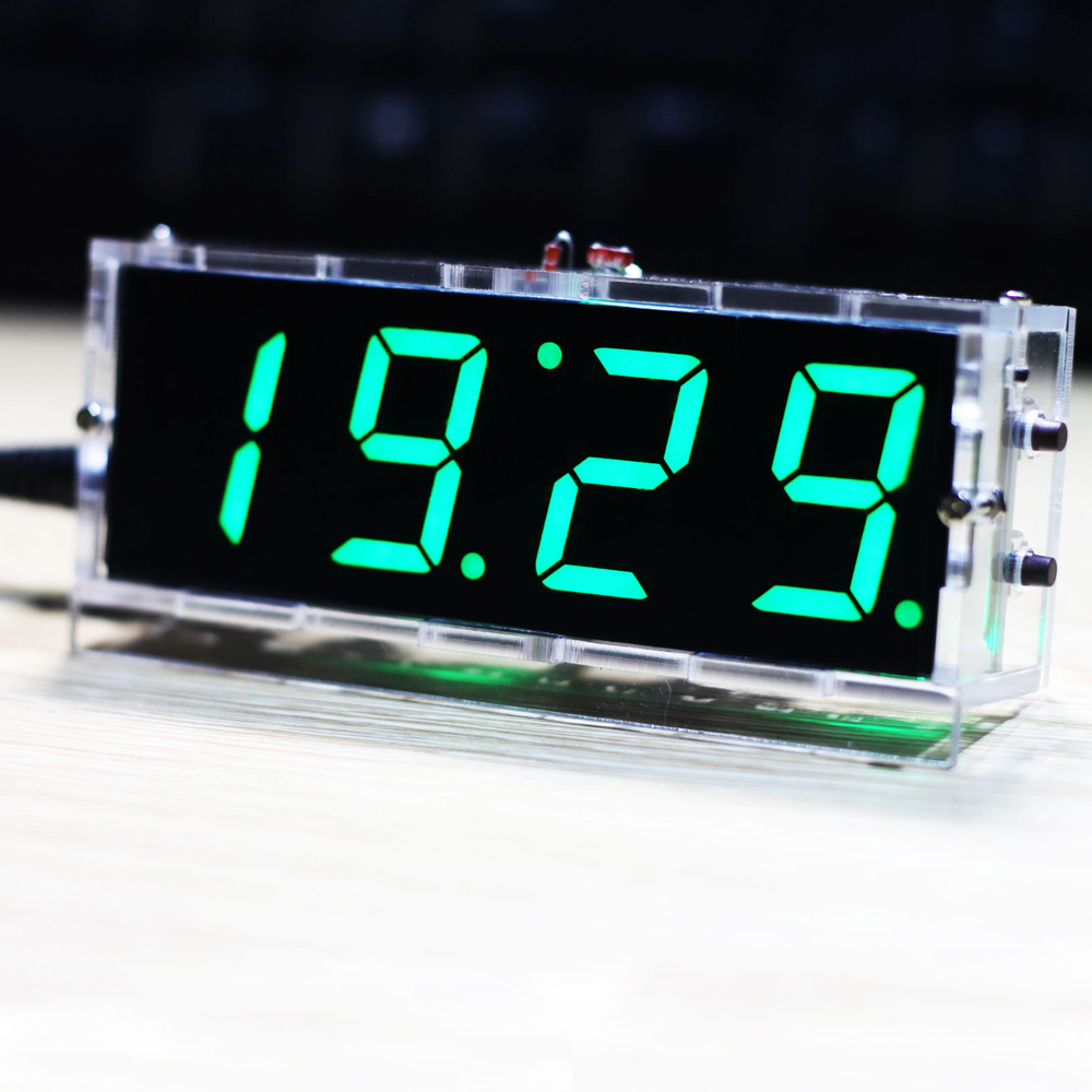 Compact Diy Digital Led Clock Kit 4 Digit Light Control Temperature Date Time Display W Transpa Case For Indoor Outdoor