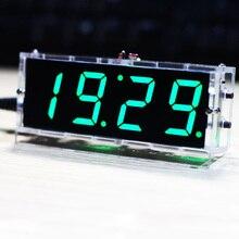 طقم ساعة LED رقمية رقمية مدمجة مكون من 4 أرقام للتحكم في درجة الحرارة وعرض وقت التاريخ ث/علبة شفافة للأماكن الداخلية في الهواء الطلق