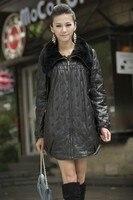 Plus size plus size rex rabbit hair genuine leather sheepskin cotton padded leather clothing outerwear female loose medium long