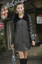 Plus size plus size rex rabbit hair genuine leather sheepskin cotton-padded leather clothing outerwear female loose medium-long