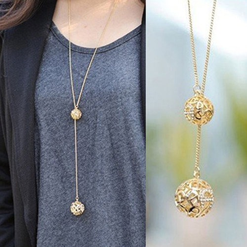 81e23a0317d1 Newest Women Rhinestone Lucky Double Hollow Balls Pendant Sweater Long Chain  Necklace