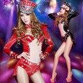 Новая мода женщина красный бар ночном клубе певица dj DS привести танцовщицу костюмы бархат Алмаз Горный Хрусталь джаз танцевальные костюмы наряды
