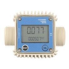 K24 digital lcd medidor de fluxo combustível diesel turbina medidor de fluxo de combustível água mar 10 90l/min ajustar líquido medidor de fluxo ferramenta de medição