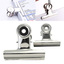 6x 75/50mm Stainless Steel Silver Bulldogs Clips Money Letter Metal Binder Clips Paper File Grip Clamps Office School Supplies(China)