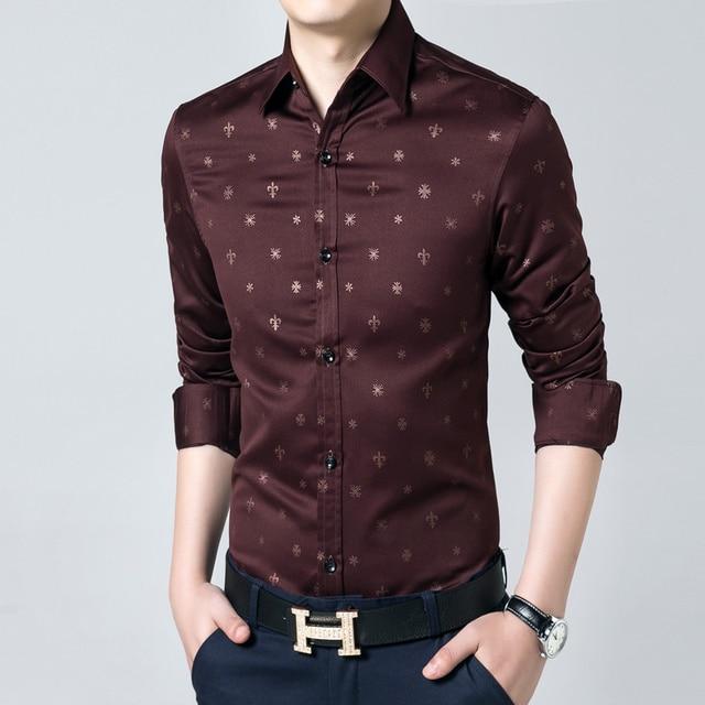 Ropa de la marca hombres slim fit camisa para hombre camisas florales 2016 de manga larga vestido famosa marca casual camisa camisa masculina
