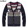 LetsKeep 2016 veados Natal cardigan homens henley camisola com cervos do natal dos homens single-breasted cardigan sweater knit, MA259