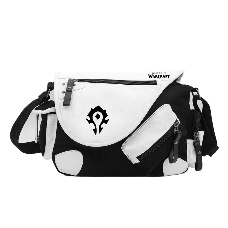 World Warcraft Horde Alliance Canvas Casual Zipper Boys Girls Shoulder Bag Crossbody Bags Schoolbags Messenger Bag