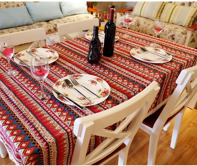 Bohemian style lace Cotton Linen rectangle tablecloth cover for cafe resturant Party Home table cloth textile