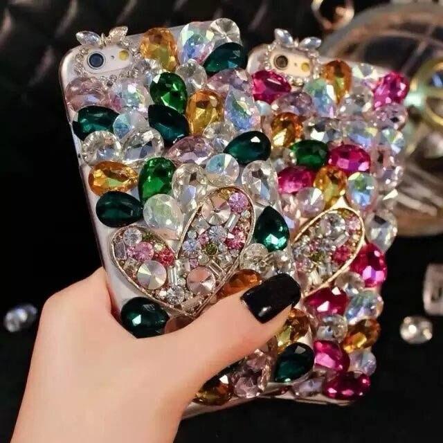 imágenes para Cajas Del Teléfono de lujo para el iphone 5S SE 6 6 s 7 Plus Bling Del Corazón Del Rhinestone arco para Samsung S6 S7 S8 Borde Más Nota 3 4 5 Cubierta de la Caja