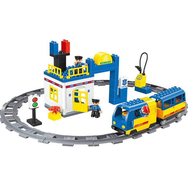 Railway Train Police Station Electric Blocks Compatible With Duplo