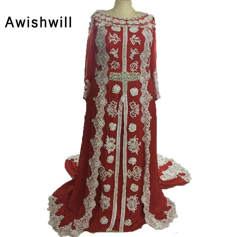 100% real photo Marokkaanse kaftan jurk lange mouwen kralen kant - Jurken voor bijzondere gelegenheden - Foto 5