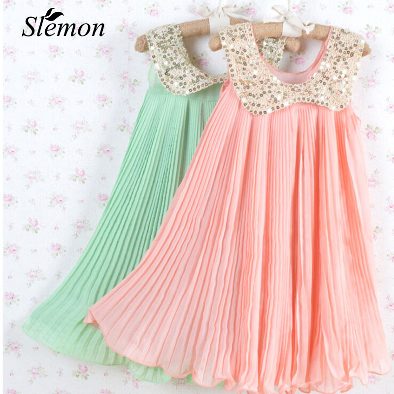 2017 Summer Girls Pleated Chiffon Dress Sequins Collar Children Clothes Loose Sleeveless Vest Dresses for Kids 3 5 7 9 12 Years hayden girls boho ethnic dress designs teenage girls national embroidered dresses flare sleeve loose fit dress for 7 to 14 years