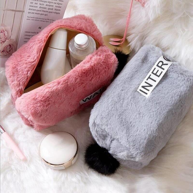 Sweet Cotton Material Cosmetic Bag Travel Makeup Bag Organizer Women Lady Storage Portable Zipper Make Up Case Dropshipping