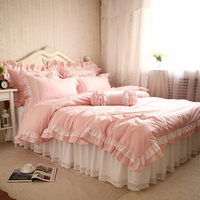 New European Style Bedding Set Sweet Lace Ruffle Duvet Cover Wrinkle Bed Sheet Bedroom Decoration Bedding Princess Bedding Sets