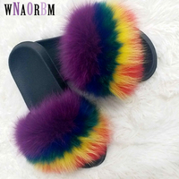 2019 Fox Hair Slippers Women Fur Home Fluffy Sliders Plush Furry Summer Flats Sweet Ladies Shoes Large Size 45 Hot Sale Cute
