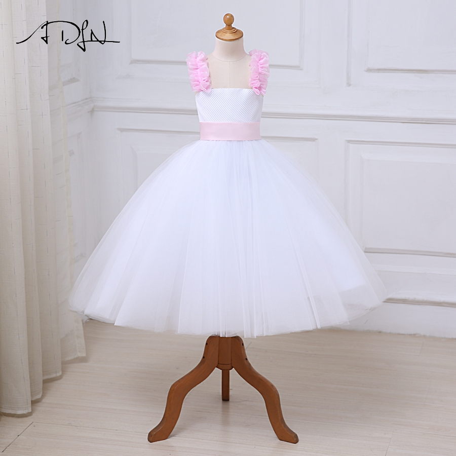 ADLN   Flower     Girl     Dresses   With Bow Lace Tulle Ball Gown First Communion   Dress   for   Girls   Customized Vestidos Longo