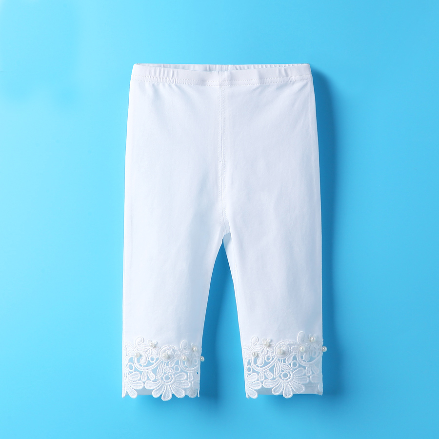 2017 cotton girls leggins pink white pants for 2t 3t 4t 5t 6t solid lace baby
