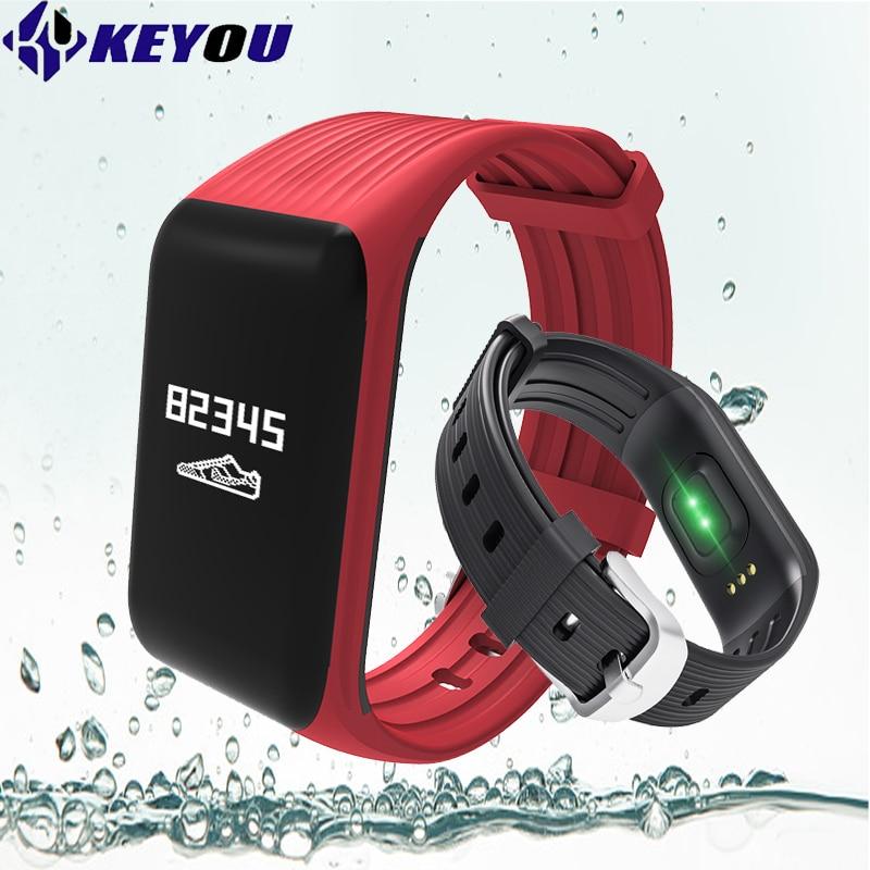 Keyou KY1 Podomètre intelligent bracelet fitness tracker moniteur de fréquence cardiaque bande étanche langue anglais intelligent bracelet de remise en forme