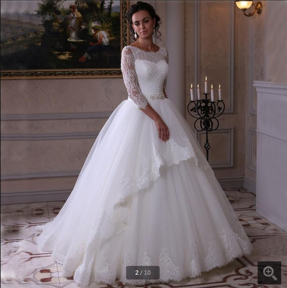 Elegant Wedding Gown With Sleeves: Elegant White Lace Ball Gown Princess Wedding Dress Real