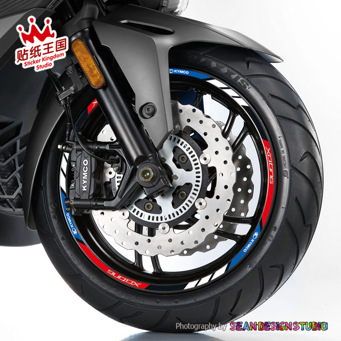 For KYMCO Xciting 250 300 400 Motorcycle Wheel Stickers Decals Reflective Waterproof Rim MotorBike Suitable