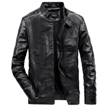 купить 2019 Spring Autumn PU Leather Jacket Men Slim Fit Coat Stand Collar Zipper Jackets Solid Color Casual B Leather Coat WN34 дешево
