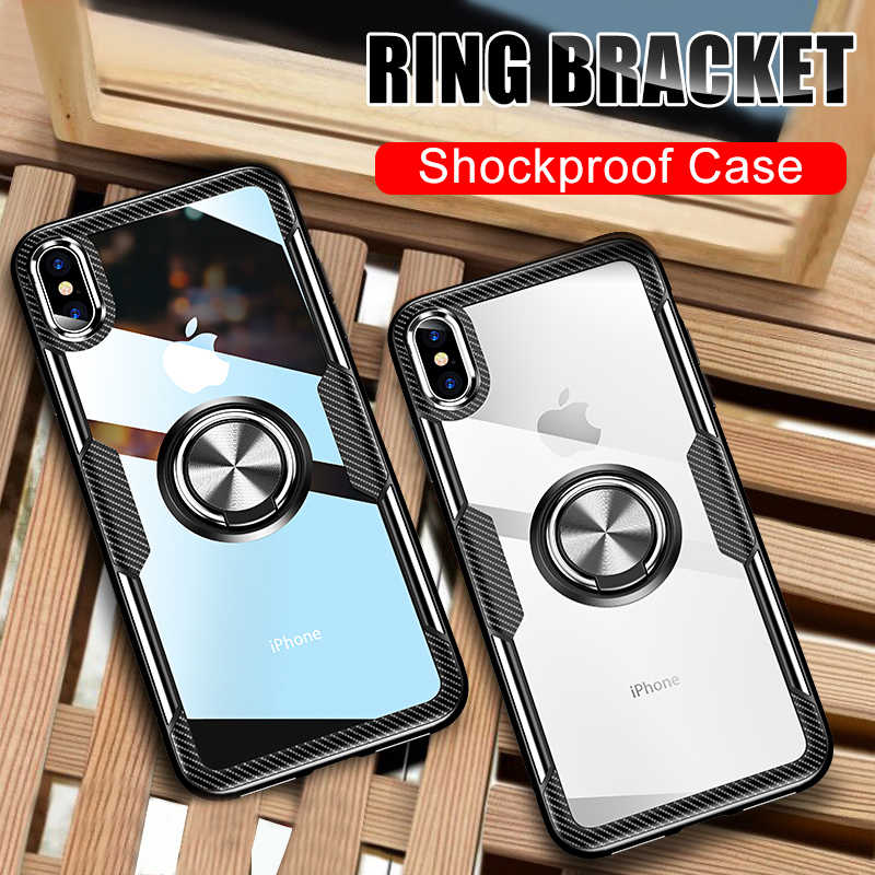 Luxury Shockproof Soft Holder Case On The For iphone X XR XS Max Full Cover For iphone 6 6s 7 8 PLus Magnetic Ring Bracket Case