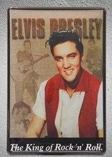 купить 1 The king of rock n roll Elvis Presley Singer guitarist Tin Plate Sign wall man cave Decoration Art Poster metal vintage home дешево