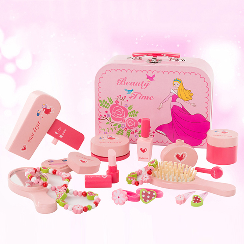 Simulation Pretend Play Make Up Toy Beaty Toiletry Case Pink Doll making Accessories Girl Wooden Mirror Fashion Show let s play make believe