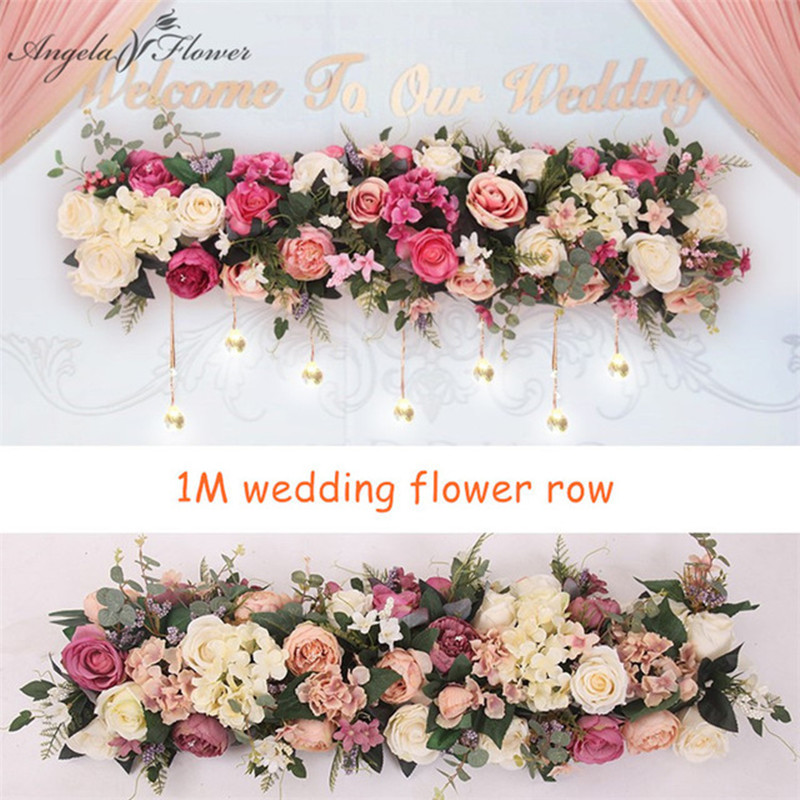 2pcs/lot 1M Road cited artificial flowers row wedding decor flower wall arched door shop Flower Row Window T station  Christmas-in Artificial & Dried Flowers from Home & Garden