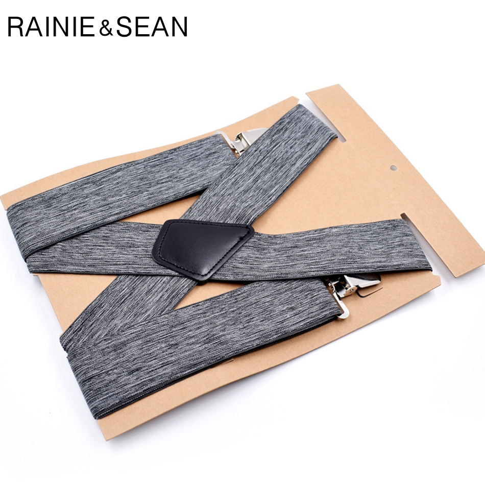 RAINIE SEAN Men Adult Suspenders Grey Mens Braces For Trousers Male Elastic Adjustable Wide Suspender Belt With 4 Clips 120cm