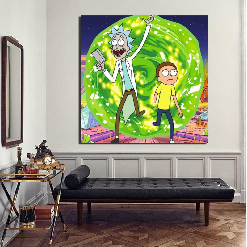 Wonderful Journey Rick And Morty Wall Art Canvas Poster And Print Canvas Painting Decorative Pictures For Living Room Home Decor in Painting Calligraphy from Home Garden