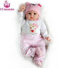 UCanaan Doll Reborn Girl 55cm Silicone Baby Newborn Toys For Girls Handmade High-end Cloth Body For Collection Bonecas Reborn