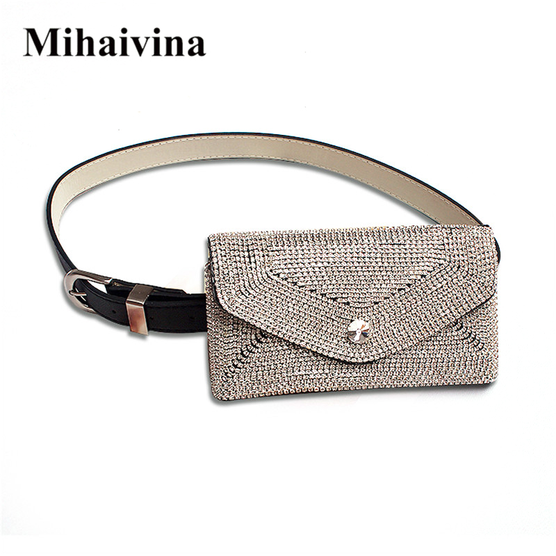 Mihaivina Classic Women's Bags Fashion Diamond Belt Bag Casual Women's Waist Bag Fur Fanny Pack Waist Packs Fit For Iphone8/plus
