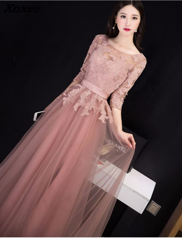 2018 Graceful O neck Half Sleeves Lace Dresses Maxi Party Dress Vestidos Long Backless Prom Evening Gonws Formal Dress in Dresses from Women 39 s Clothing