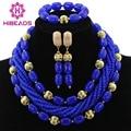 2017 Blue Nigerian Wedding African Beads Jewelry Set Dubai Gold Plated Women Costume Fashion Jewelry Set Free Shipping ABL229