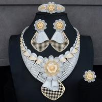 GODKI 99mm Luxury Flowers 4PCS African Jewelry Sets For Women Wedding Cubic Zircon Crystal CZ DUBAI Silver Bridal Jewelry Sets