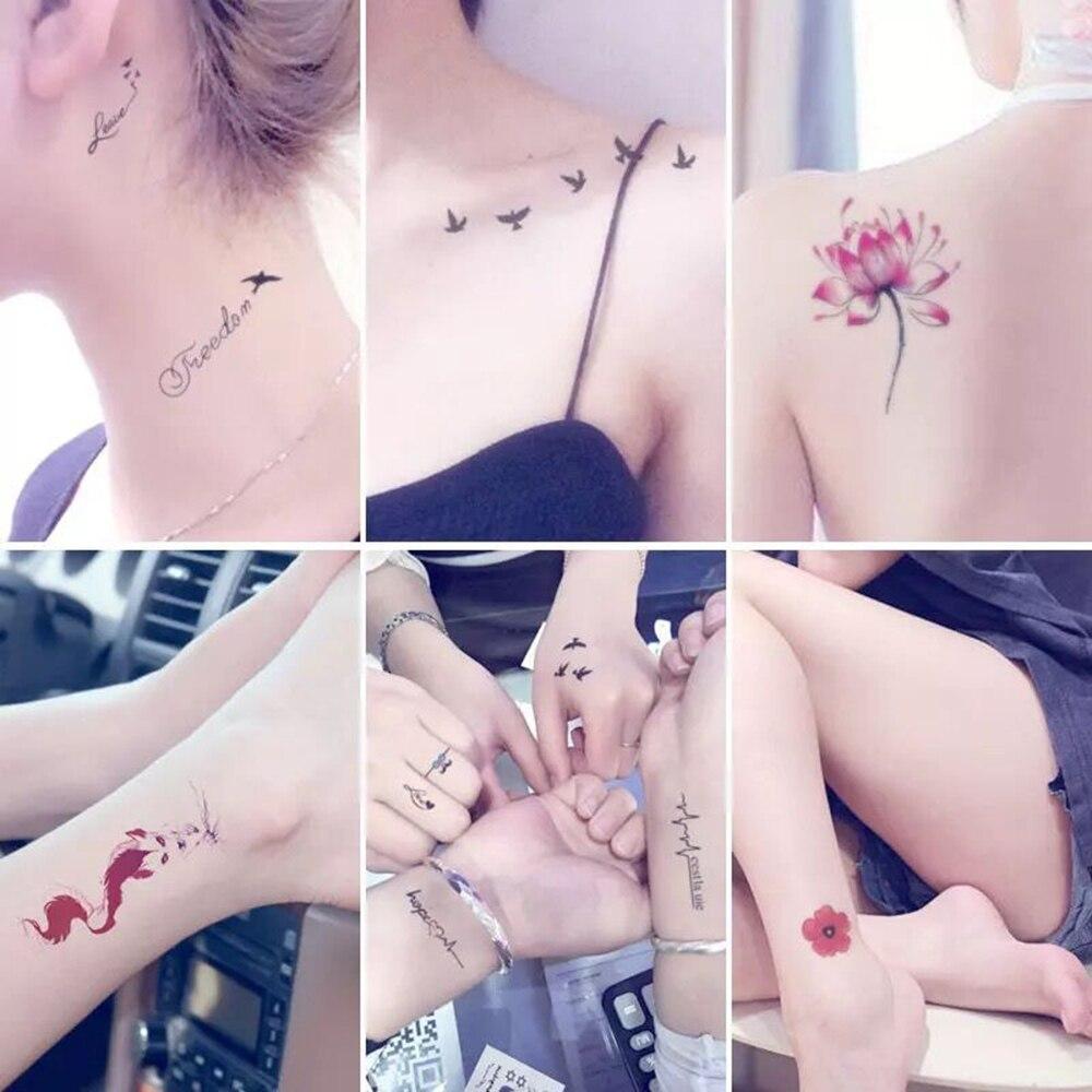 New 2018 30 Sheets/set Classic Tattoo Waterfproof Fake Temporary Tattoo Sticker Body Cat Star Infinity Bird Tattoo Small