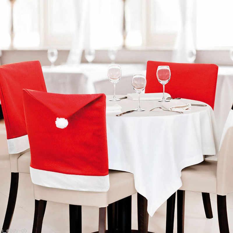 1PCS วันคริสต์มาสตกแต่ง Santa Red Hat เก้าอี้กลับปกคลุม Dinner PARTY PARTY ขนาดใหญ่กระสอบถุงน่อง Santa Claus Xmas ของขวัญ