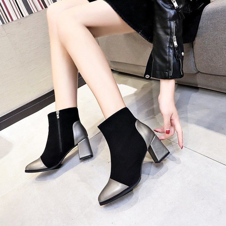 2018 rubbers winters natural blacks square heel zipper closure ankles pointed toe booties cowboys leathers as roma luxury